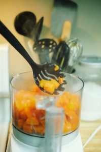 Spooning the carrots into a processor is easy!  Putting the whole liquid mixture in is not.